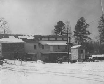 An old view of Cross Mill in the snow